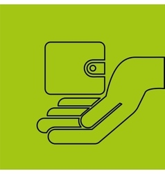 Concept e-commerce hand with wallet money vector
