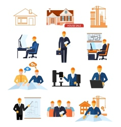 Concept set for production and building stages vector image vector image