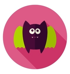 Cute bat circle icon vector