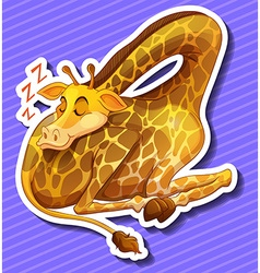 Cute giraffe sleeping alone vector