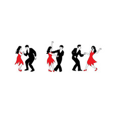 Dance set - of dancers in black and vector