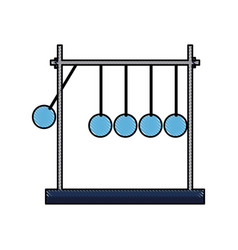 Drawing newtons cradle momentum pendulum metal vector