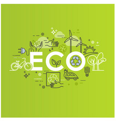 ecology lifestyle green energy recycle vector image