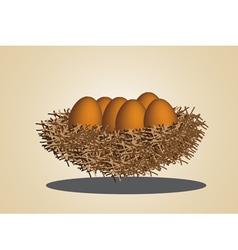 eggs in birdnest vector image vector image