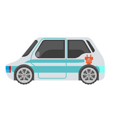 Electrocar isolated in light color with blue vector