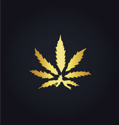 gold marijuana leaf logo vector image