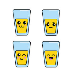 kawaii glass juice faces icon vector image vector image