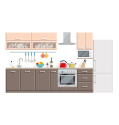 kitchen modern interior and furniture on white vector image vector image