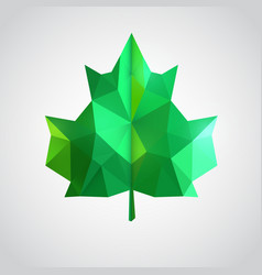 low poly green leaf vector image vector image