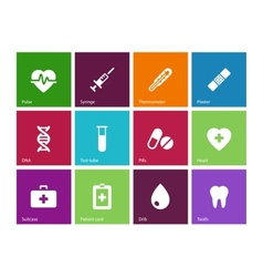 Medical icons on color background vector