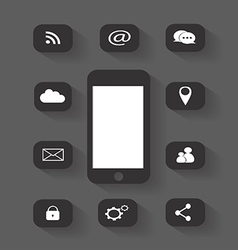 Mobile phone icon media round vector