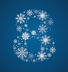 Number 8 font frosty snowflakes vector