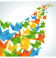 Origami paper birds flight abstract background vector image