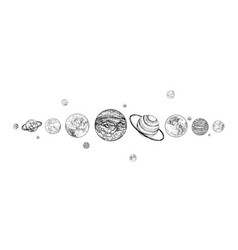 planets lined up in row solar system drawn in vector image vector image