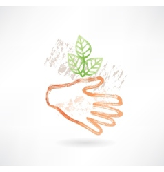 Plant and hand grunge icon vector image