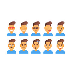 Profile icon male different emotion set avatar vector