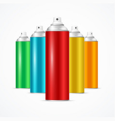 Realistic aluminium colorful spray can set vector