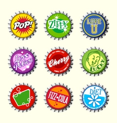 Retro bottle cap designs 3 vector