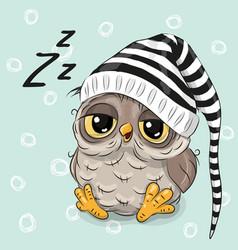 sleeping cute owl vector image