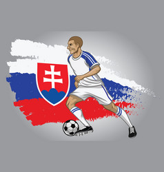 slovakia soccer player with flag as a background vector image vector image