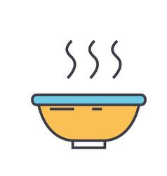 Soup bowl concept line icon editable vector