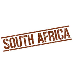 South africa brown square stamp vector