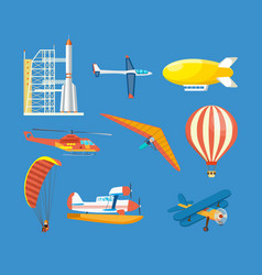 Vehicles helicopter airship glider aircraft vector
