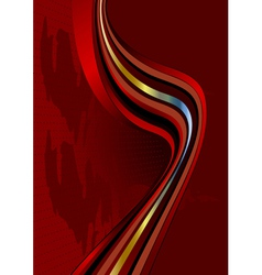 Wavy stripes on dark red background vector image vector image
