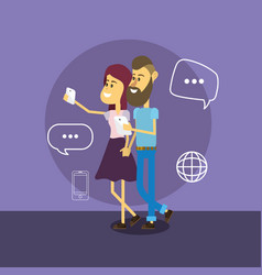 Woman and man with smartphones and chat bubbles vector