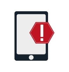Modern cellphone and warning sign icon vector