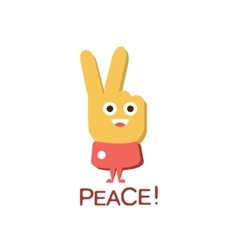 Peace gesture word and corresponding vector