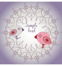 Retro card with cute birds vector image