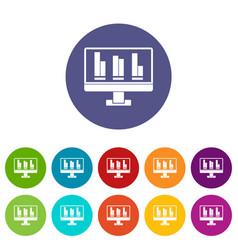 business graph at computer screen icons set flat vector image