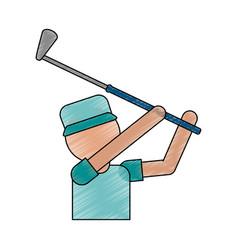 Color pencil cartoon faceless half body golfer man vector