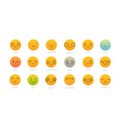 set of japan style color emoji isolated on white vector image