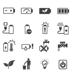 Prohibition and instruction of battery icons set vector