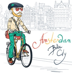 Trendy hipster bearded boy on a bike vector