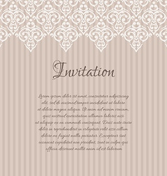 Beige baroque damask invitation blank with a place vector