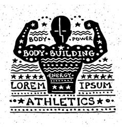 Vintage grunge label with athlet vector