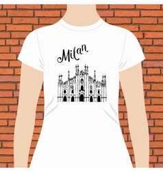 White shirt with milan text and a church design vector