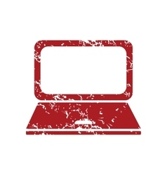 Laptop red grunge icon vector