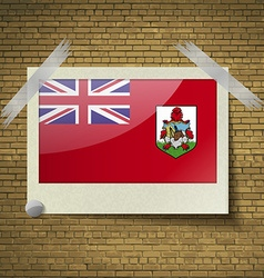 Flags bermuda at frame on a brick background vector