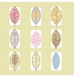 Leaf icon collection in linear vector