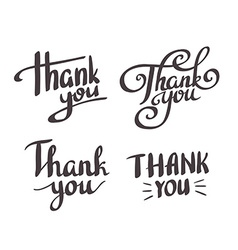 A set of style Thank You design elements lettering vector image