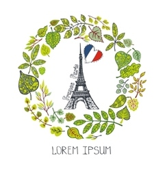 Spring in parisgreen leaves wreath eiffel tower vector