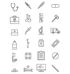 Black medicine icons set vector