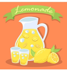Fresh lemonade juice pitcher with gree vector