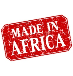 Made in africa red square grunge stamp vector