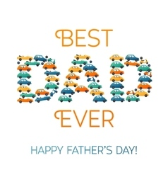Happy fathers day card cars and motobike on white vector