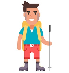 Young guy in red shorts and blue tshirt with vector